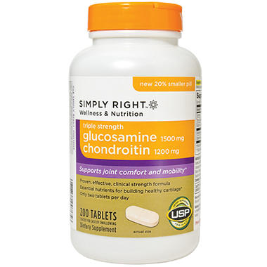 Simply Right Glucosamine Chondroitin - Triple Strength -, 200 Count