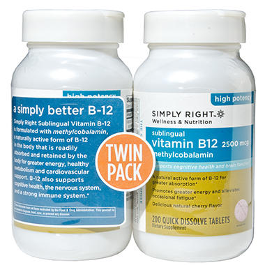 Simply Right - Vitamin B-12 - 200 Tablets - 2 pack