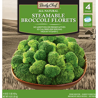 Daily Chef Steamable Broccoli Florets - 1 lb. bags - 4 ct.