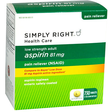 Simply Right Adult Aspirin - 81mg - 730 ct.