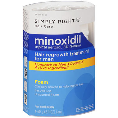 Simply Right? Minoxidil Foam Hair Regrowth Treatment - 2.11 oz. - 4 ct.