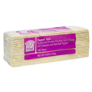 Bakers & Chefs Pepper Jack Cheese Slices - 120 slices - 5 lbs.