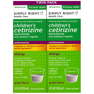Simply Right Children's Cetirizine Hydrochloride Oral Solution 1mg - 4 oz. bottles - 2 pk.