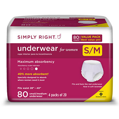 Simply Right Women's Maximum Absorbency Protective Underwear - Small/Medium - 80 ct.