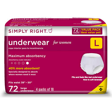 Simply Right Women's Maximum Absorbency Protective Underwear - Large - 72 ct.