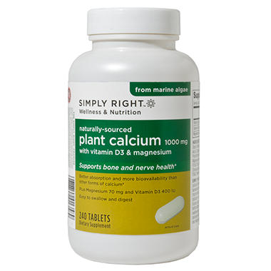 Simply Right Naturally-Sourced Plant Calcium 1000mg - 240 ct.