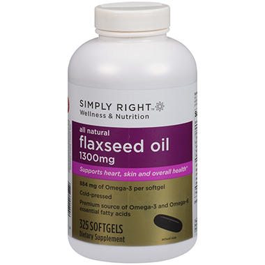 Simply Right? Flaxseed Oil Dietary Supplement - 325 ct.