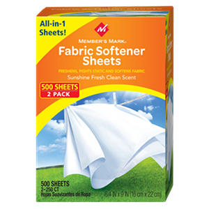 Member's Mark Fabric Softener Sheets, Sunshine Fresh Clean Scent (500 ct.)