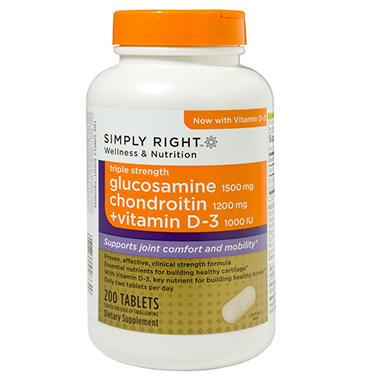 Simply Right Glucosamine Chondroitin + Vitamin D-3 - 200 ct.