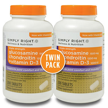 Simply Right Glucosamine Chondroitin + Vitamin D-3 - 400 Tablets