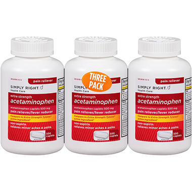 Simply Right Extra Strength Acetaminophen - 500 ct. - 3 pk.