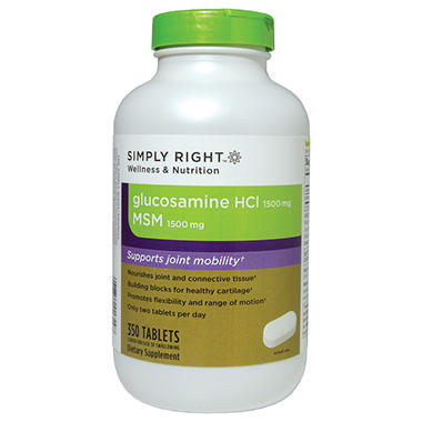 Simply Right Glucosamine HCl 1500mg & MSM 1500mg - 350 ct. tablets