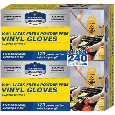 Member's Mark Commercial Disposable Latex Free Vinyl Gloves - 120 gloves - 2 pk.