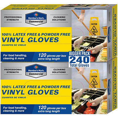Member's Mark Commercial Disposable Latex Free Vinyl Gloves - 120 gloves - 2 pk.