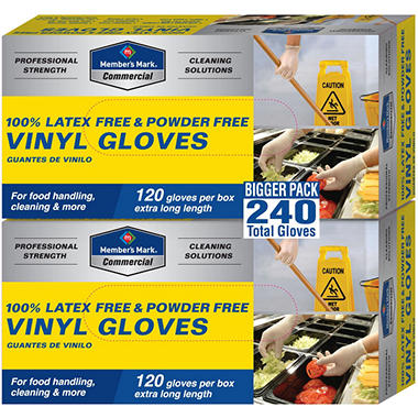 Member's Mark Disposable Latex Free Vinyl Gloves - 120 gloves - 2 pk.