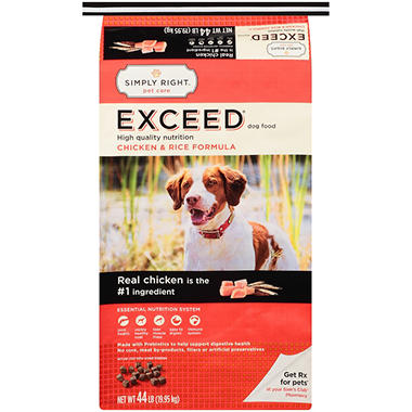 Simply Right Exceed Dog Food Chicken & Rice Formula - 44 lb.