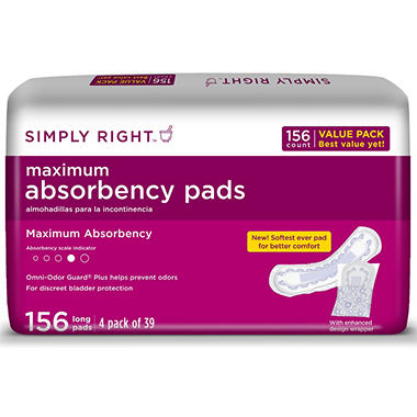 Simply Right Maximum Absorbency Pads - Long - 156 ct.