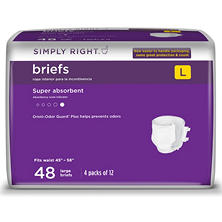Simply Right Unisex Briefs - Large - 48 ct.