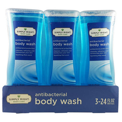 Simply Right Antibacterial Body Wash, Sparkling Mist (24 fl. oz, 3 pk.)