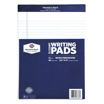 "Member's Mark - Perforated Writing Pad, 8.5"" x 11"", White - 12 Pads"