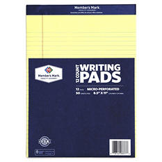 "Member's Mark - Perforated Writing Pad, 8.5"" x 11"", Canary - 12 Pads"