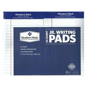 "Member's Mark - Perforated Writing Pad - 5"" x 8"" - White - 24 ct."