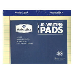 "Member's Mark - Perforated Writing Pad - 5"" x 8"" - Canary - 24 ct."