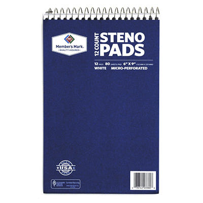 "Member's Mark - Perforated Steno Pad, 6"" x 9"", White - 12 Pads"