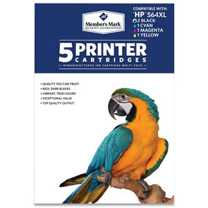 Member's Mark Remanufactured HP 564XL, Color, ( 5 pk. Page Yield 550 to 750)