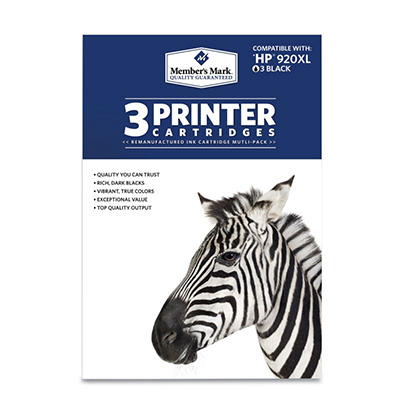 Member's Mark Remanufactured HP 920XL, Black, (3 pk. Page Yield 1,200)