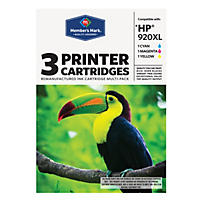 Member's Mark Remanufactured HP 920XL Ink Cartridges, 3pk Cyan/Magenta/Yellow