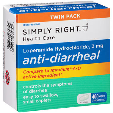 Simply Right? Anti-Diarrheal Caplets (200 ct., 2 pk.)
