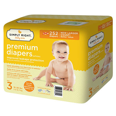 Simply Right Premium Baby Diapers (Choose Your Size)