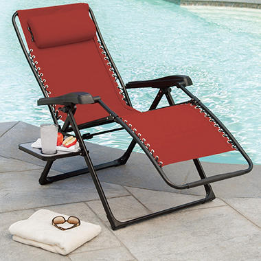 Extra Large Anti-Gravity Chair with Side Table - Red