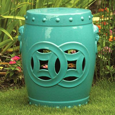 "Ceramic Garden Stool - 18"""
