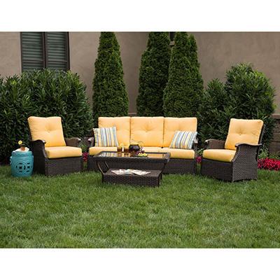 Member's Mark Stockton Deep Seating Set with Premium Sunbrella® Fabric in Cornsilk Yellow - 4 pcs., Original Price $999.00