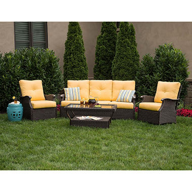 Members Mark Stockton 4 Piece Deep Seating Set with Premium Sunbrella Fabric in Cornsilk Yellow