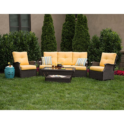 Member's Mark Stockton Deep Seating Set with Premium Sunbrella® Fabric in Cornsilk Yellow - 4 pcs.