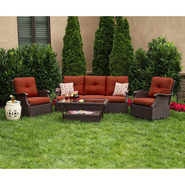 Member's Mark® Stockton Deep Seating Set with Premium Sunbrella® Fabric in Cornell Red - 4 pcs.