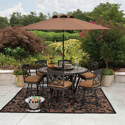 Member's Mark® Heirloom Bay Slate Dining Set with Premium Sunbrella® Fabric - 8 pcs. Original Price $999.00