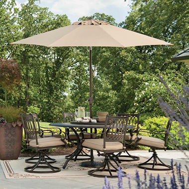 Members Mark Madison Porcelain and Aluminum 9 Piece Dining Set with Premium Sunbrella Fabric