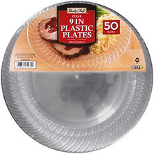 "Daily Chef Clear 9"" Plastic Plates (50 ct.)"