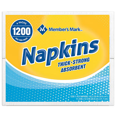 Member's Mark 1-Ply Everyday White Napkins 11.4 x 12.5 (200pk, 6pk. per ct.)