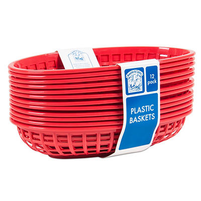Bakers & Chefs Oval Fast Food Basket, Red (12 pk.)