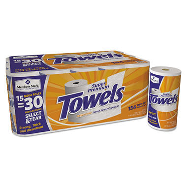 Member's Mark Super Premium Paper Towels, 15 Mega Rolls