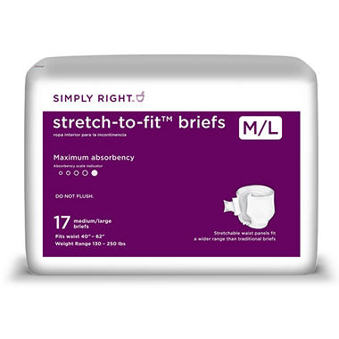 Simply Right Unisex Stretch-to-Fit Briefs, Medium/Large (68ct.)