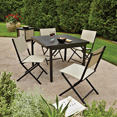 Logan Sling Stack 6-Piece Patio Set With Storage Cart Tray