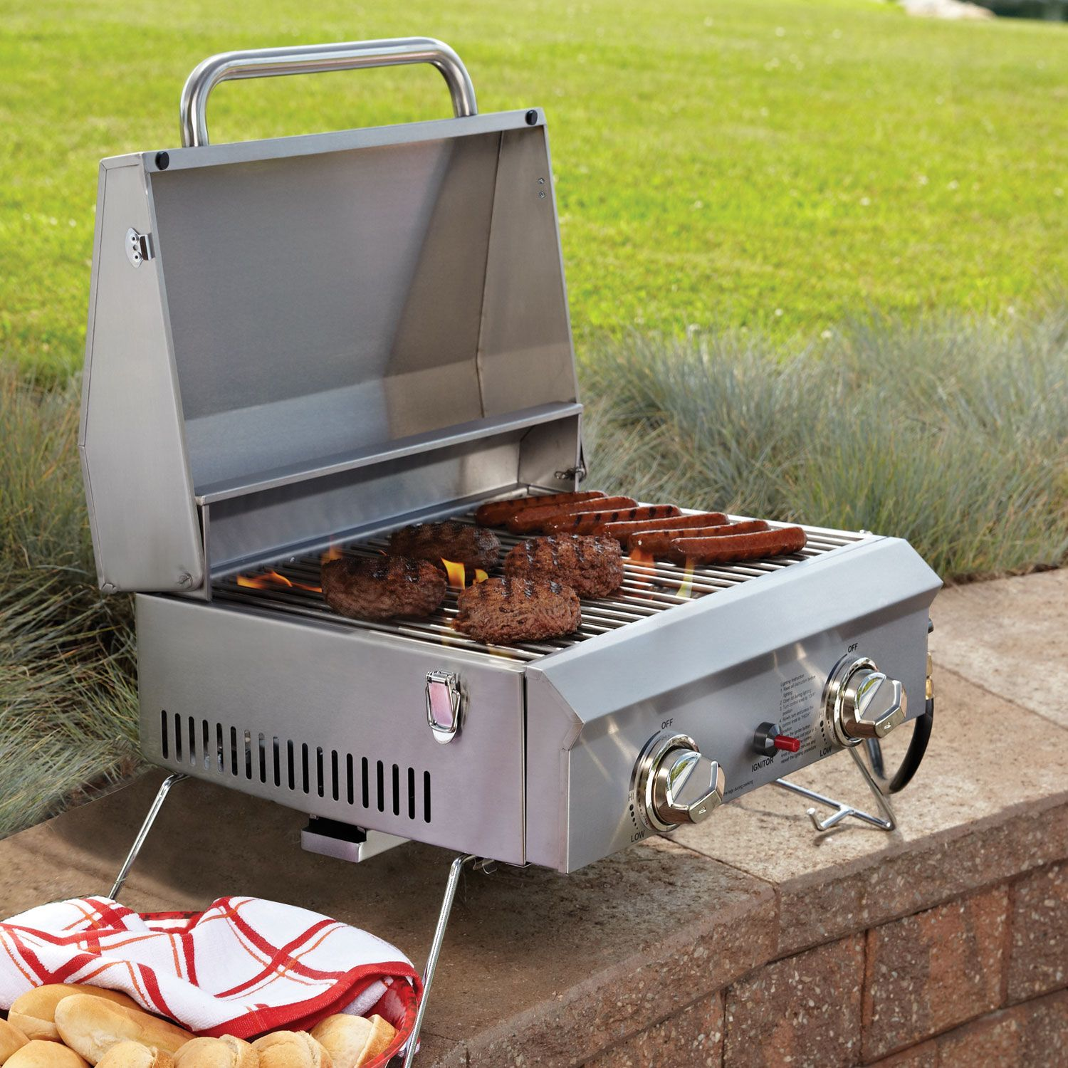 Portable Gas Bbq Grills : Outdoor portable stainless steel burners gas bbq grill