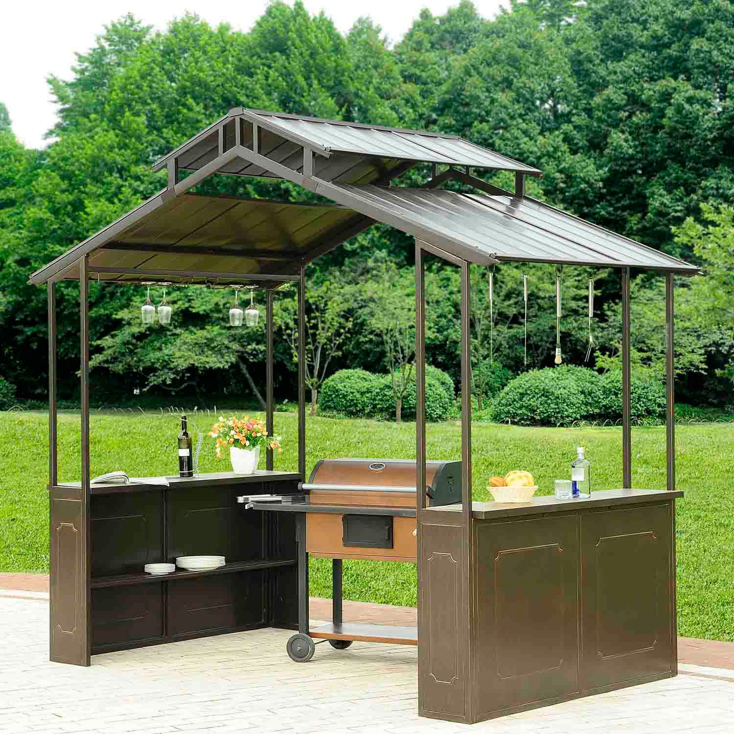 New Casual Hard Top Grill Gazebo Easy Access Ebay