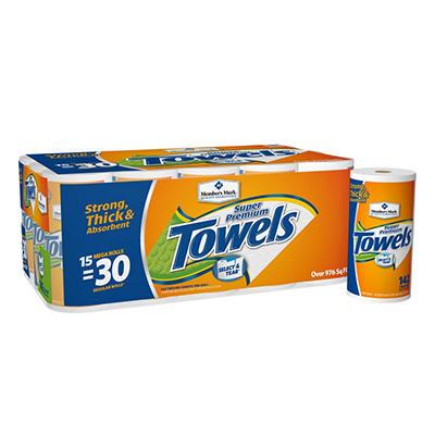 Member's Mark Super Premium, 2-Ply Paper Towels (15 Rolls, 142 Sheets per Roll)